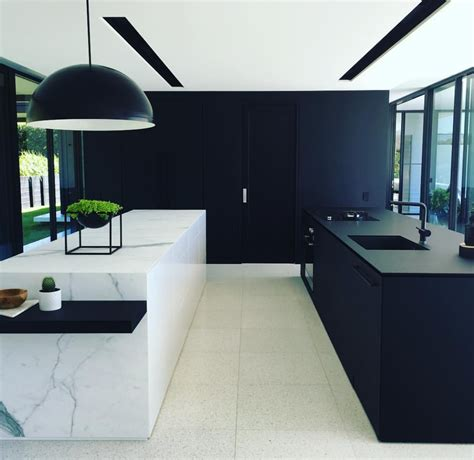 black island kitchen black white marble kitchens white
