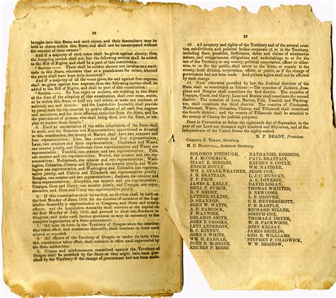 constitution printed for dissemination in new york state with george black exclusion laws in oregon