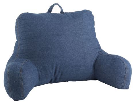 armed bed pillows washed blue denim bedrest