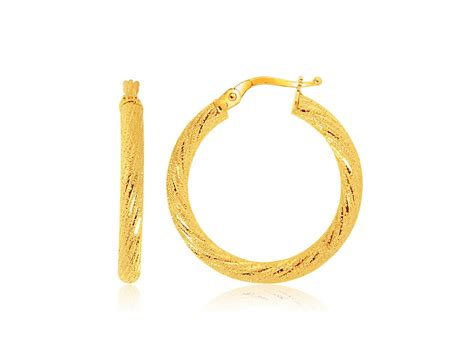 florentine medium hoop earrings in 14k yellow gold