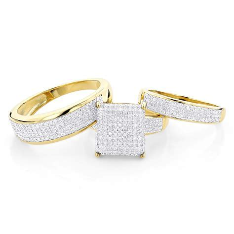 Affordable Trio Ring Sets:Diamond Wedding Ring Set 1.25ct