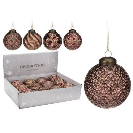 bronze pattern baubles 4a 30285 christmas baubles