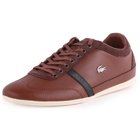 lacoste misano 31 mens leather suede brown trainers