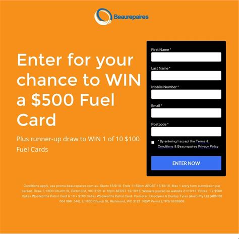 Fuel Gift Cards Australia - win a 500 fuel gift card or 1 of 10 100 fuel gift cards from beaurepaires