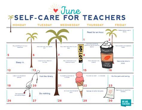 Care Calendar Free Printable June Self Care Calendar For Teachers