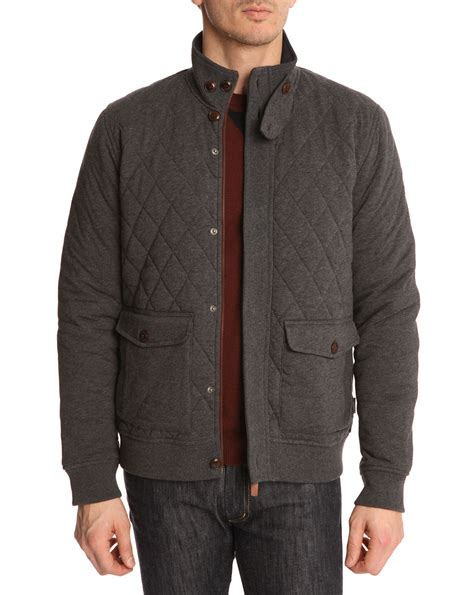 ted baker grey quilted jersey jacket in gray for lyst