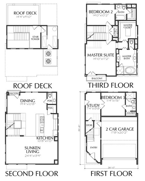 floor plan with roof plan 2200 square foot townhouse with roof deck floor plan