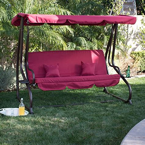 cheap belleze 3 seat porch patio swing bed with pillow