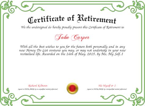 certificate of retirement certificate created with