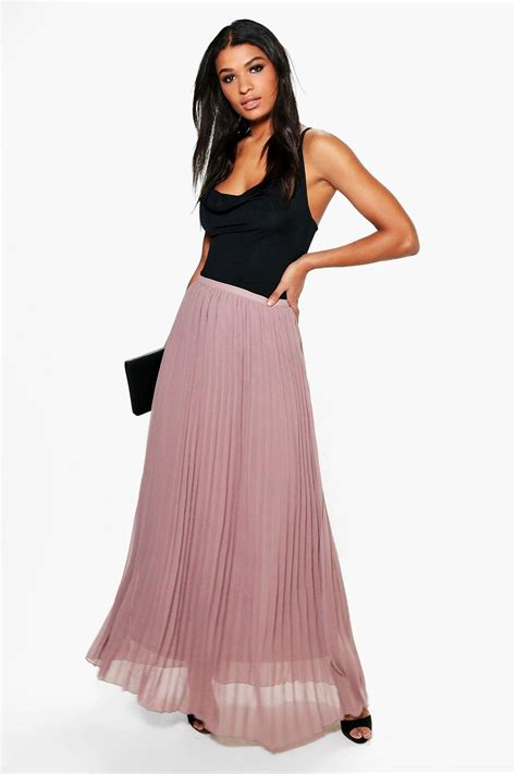 boohoo womens chiffon pleated maxi skirt