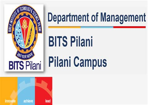 Bits Pilani Mba Placements by Department Of Management