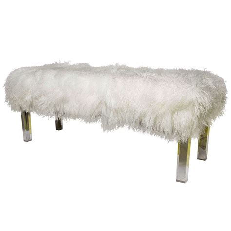 bench lucite legs tibetan lambswool bench with lucite legs at 1stdibs