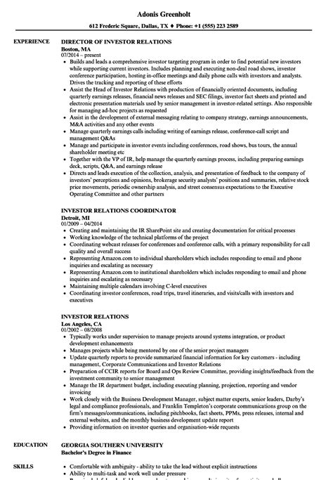 lovely investor relations resume ideas entry level