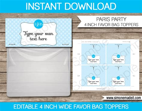 blue paris favor bag toppers birthday party favors