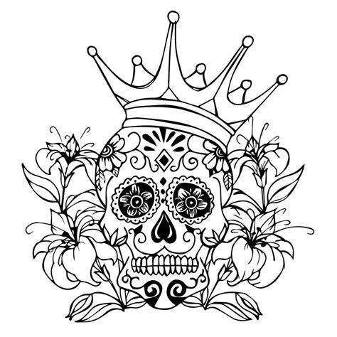 awesome flowery crown u0026 skull skull crown drawing at getdrawings free for personal