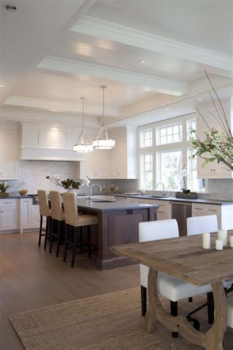 open kitchen design with white shaker cabinets cherry