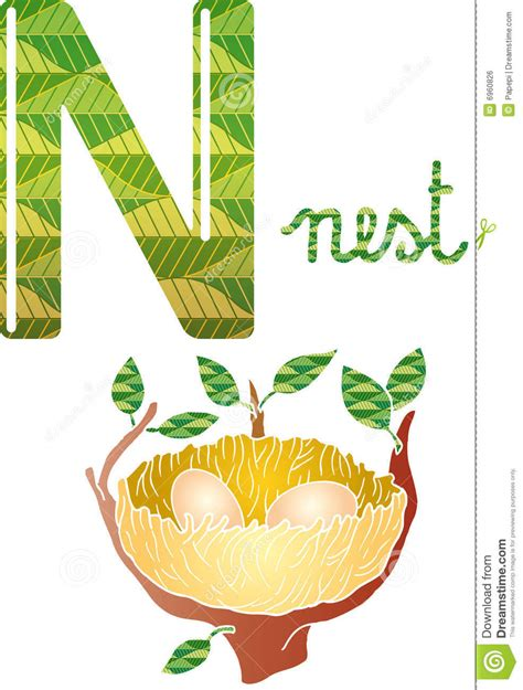 with picture alphabet n stock vector image of nest fourteenth letter