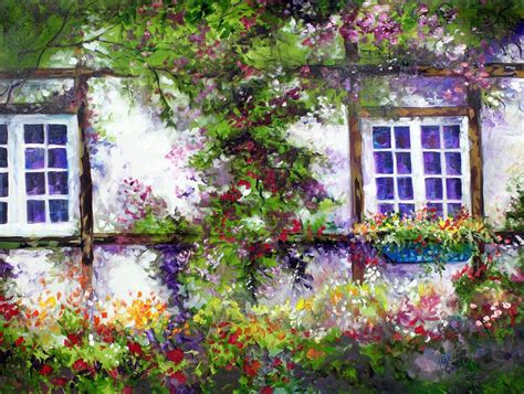 Cottage Garden Paintings by Garden Cottage By Marcia Baldwin