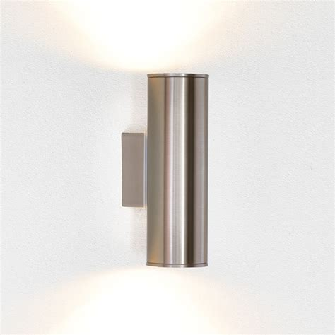 Riga Twin Led Outdoor Wall Light Stainless Steel Contemporary Outdoor Up Down Lights