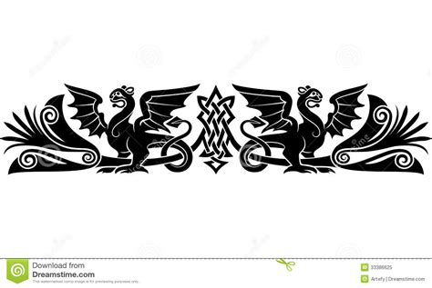 medieval celtic pattern stock vector image of gryphons