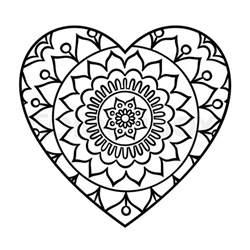 doodle heart mandala coloring page outline floral design