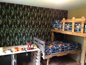 Loft Bed Made From Pallets Boys Bunk Beds And Room Makeover Beds And Desk Made From
