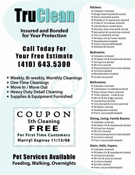 templates for cleaning service flyers sle flyers for personal assistant low cost businesses