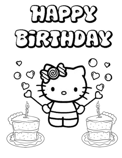 happy birthday cat coloring page hello kitty coloring pages happy birthday coloring home