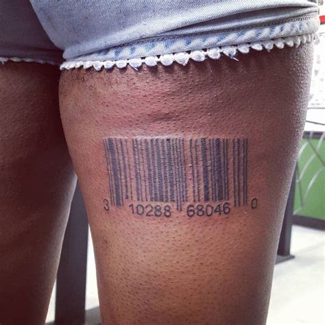 back of leg tattoos back thigh barcode creativefan
