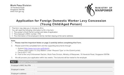 application letter for domestic helper levy waiver for foreign domestic worker and application