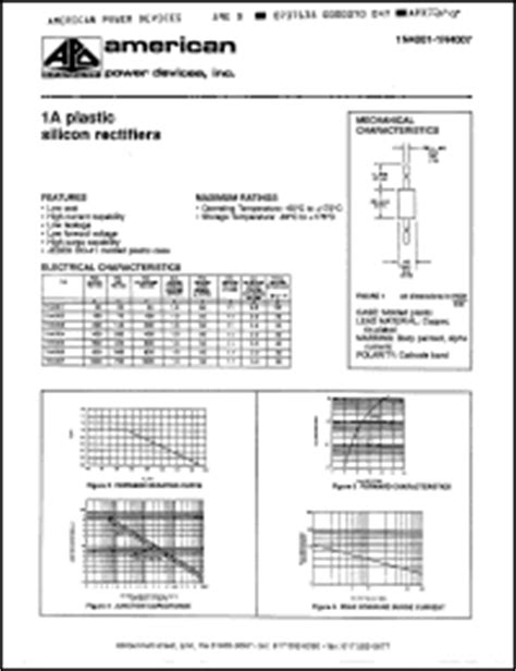 datasheet of diode 1n4001 apd 1n4001 series datasheets 1n4001 1n4004 1n4006 1n4007 1n4003 1n4002 1n4005 datasheet
