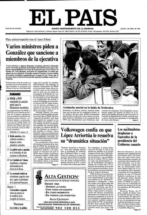 Portada de EL PAÍS del 01-04-1993