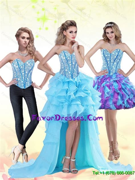 Dress Pink 14418 detachable aqua blue high low 2015 prom dress with beading