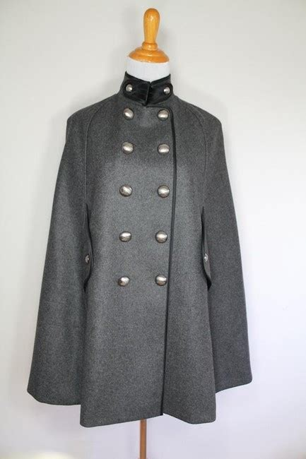wool cashmere blend military cape coat burberry burberry gray cashmere wool military coat jacket poncho