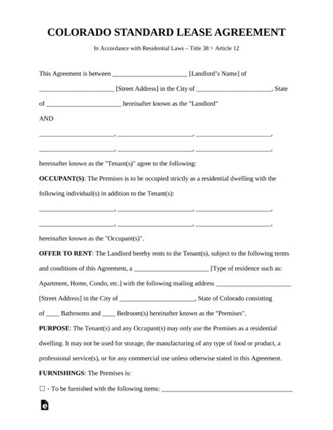 Rental Agreement Template Colorado Free Colorado Rental Lease Agreements Residential