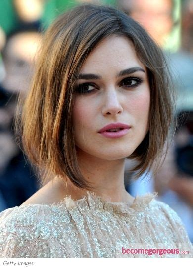 softened bob hairstyle the angled cut of keira knightley s bob is softened by