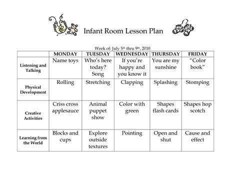 Infant Room Lesson Plan Westlake Childcare By Linzhengnd Early Learning Pinterest Infant Lesson Plan Template For Child Care