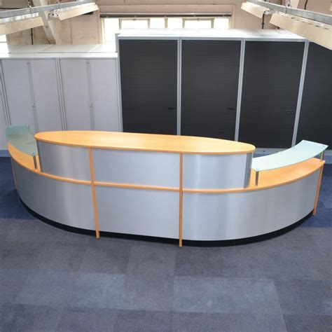 Large Reception Desk Beech Veneer Silver Modern Large Reception Desk