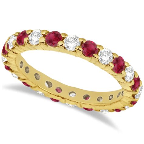 Ruby 6 35ct eternity ruby ring band 14k yellow gold 2 35ct