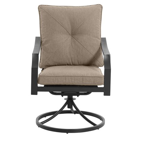 Patio Furniture With Swivel Chairs Shop Garden Treasures Vinehaven 2 Count Brown Steel Swivel Patio Dining Chairs With Cushions