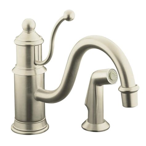 Kohler Brushed Nickel Kitchen Faucet Shop Kohler Antique Vibrant Brushed Nickel 1 Handle Low Arc Kitchen Faucet At Lowes