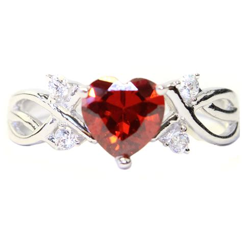 ruby shaped ring cubic zirconia promise