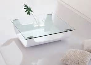 White Glass Coffee Table Iceberg Contemporary Square Shaped Glass Coffee Table