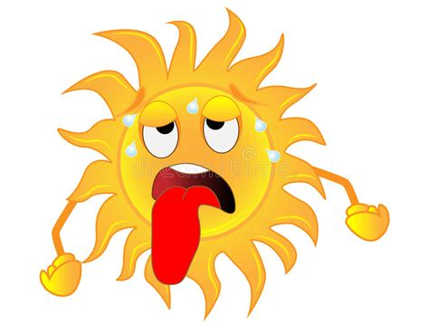 Sad Sun L by Sad Sun Is Exhausted From A Heat Stock Vector Image