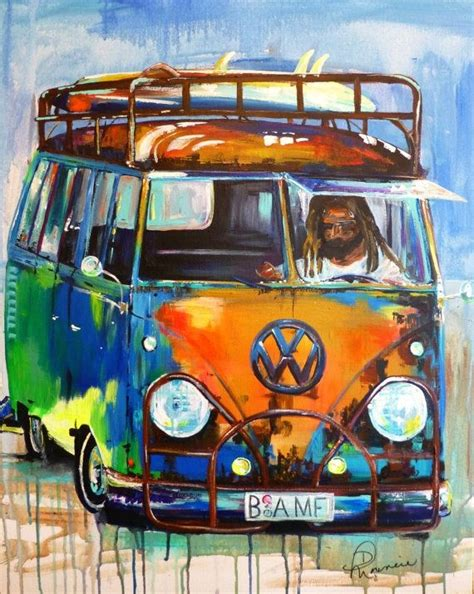 volkswagen bus art original acrylic painting of old local rusty vw by