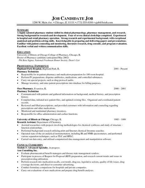 Pharmacy Intern by Pharmacy Intern Resume Sle Resume Ideas