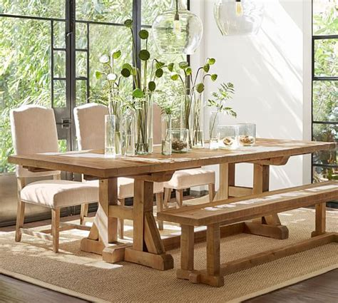 pine dining room tables stafford reclaimed pine extending dining table pottery barn