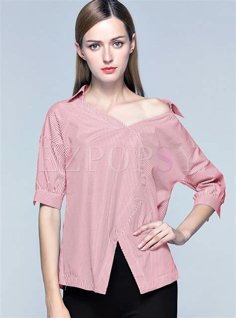 Striped Sleeve Blouse tops blouses striped asymmetry one shoulder lantern