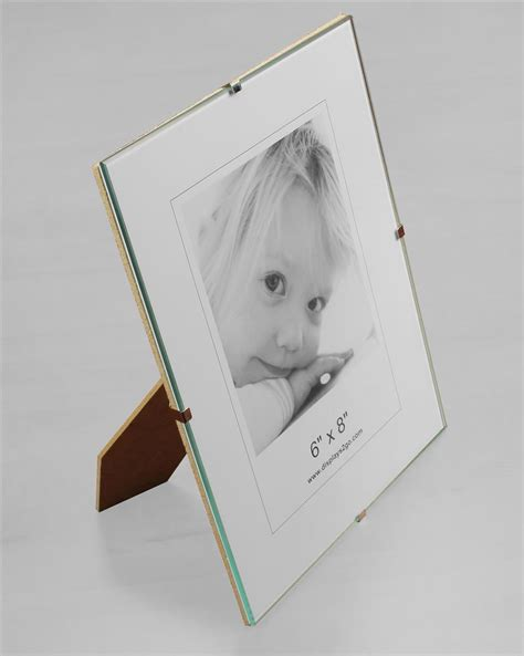 frameless photo 6 quot x 8 quot glass clip photo frame for tabletop or wall