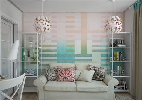 Living Room Wallpaper Ikea Low Cost Interior Design Of A Small Apartment Home